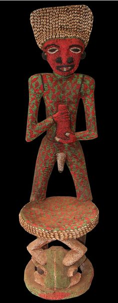 Africa | Prestige chair from the Bamileke people of Cameroon | Wood, textile, glass beads, cowrie shells