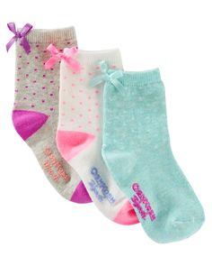 Baby Girl 3-Pack Bow Crew Socks | OshKosh.com