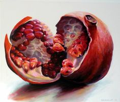 """Open pomegranate"" I was inspired by this art work as it shows the inside and the details of the fruit inside it . the gradient color and the red is brightly colored . Details are shown with eye widening ."