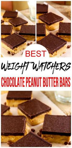 Have a craving for chocolate and peanut butter? How about some Weight Watchers peanut butter chocolate bars. A cream and fluffy Weight Watchers recipe that… Easy Chocolate Desserts, Peanut Butter Chocolate Bars, Ww Desserts, Best Dessert Recipes, Ww Recipes, Free Recipes, Dinner Recipes, Weight Watchers Chicken, Weight Watchers Desserts
