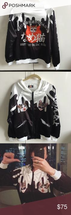 "Satin Cat Jacket Tokyo Super sassy fun jacket purchased at Harajuku in Japan. Worn once. Translation on back ""Are you taking the piss"" an old Japanese slang. Super light weight with two front pockets and zipper. Price Firm. ACDC Rag Jackets & Coats"