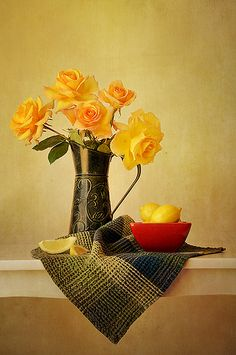 Roses in Green Pitcher  by Colleen Farrell