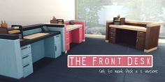 """THE FRONT DESK – by amoebae Recolour of THE Front Desk from Get to Work. Comes in 3 versions: black stone top with 55 wood colours; white stone top with 55 wood colours; 24 mis-matched natural wood tones. """"THE Front Desk (Get to Work) –..."""