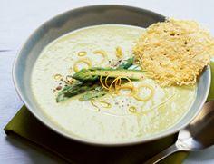 Fresh Asparagus Soup with Parmesan Crisps