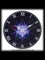 Gothic Wiccan Pagan Pentagram Clock