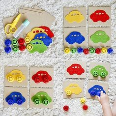Super easy to make and a great way to practise lots of skills Easy Games For Kids, Games For Toddlers, Diy For Kids, Crafts For Kids, Toddler Learning Activities, Montessori Activities, Infant Activities, Learning Games, Transportation Activities