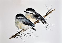 watercolor birdson a branch - - Yahoo Image Search Results