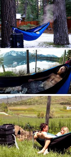 Have you ever tried taking a bath while swinging? Check it out==> | Hydro Hammock - Bath Tub Hammock | http://gwyl.io/hydro-hammock-hot-tub-hammock/