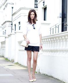 Acne Angora Jumper, Topshop Lace Shorts, Camilla Skovgaard Shoes, Celine Bag