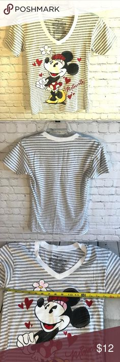 Disney Women's Minnie Mouse V Neck T Shirt XS Walt Disney Women's Minnie Mouse Striped V Neck T Shirt   Size XS  Gray White Striped  See pics for measurements Disney Tops Tees - Short Sleeve