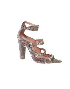 cynthia rowley printed three strap teal brocade heel shoe closzet