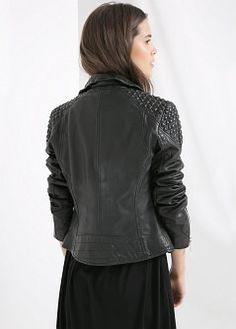 Dokuma parçalı deri ceket