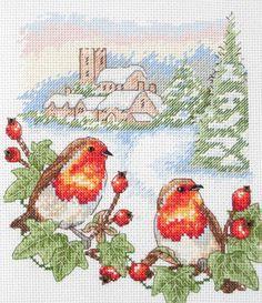 Winter Robin (Bird) - Cross Stitch Kit