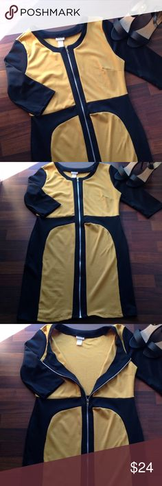 Dress Worn once mustard and black dress with zipper size 2x fits 16/18 Dresses