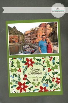 Custom Christmas Card Poinsettia and Holly by annblairecreations, $15.00