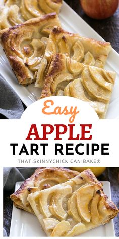 Easy, buttery French Apple Tart Recipe - with two store-bought ingredients, this easy apple dessert is a cinch to prepare and so delicious! Your friends and family will think you slaved away to make this elegant dessert, but you won't break a sweat! Follow me on Pinterest for more amazing desserts! Apple Desserts, Homemade Desserts, Apple Recipes, Easy Desserts, Strawberry Desserts, Pastry Recipes, Baking Recipes, Snack Recipes, Dessert Recipes