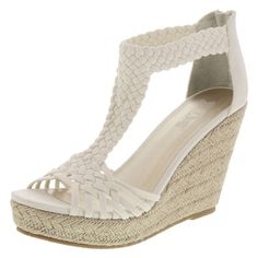"""Capture a natural look with the Paradise Wedge from Brash. It features a twill upper, ankle zipper, 4"""" woven wedge with a 1"""" platform, cotton twill lining, padded insole, and a durable outsole. Manmade materials."""