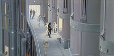 Death Star elevators concept art by Ralph McQuarrie