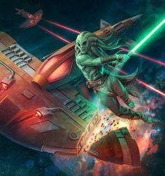 Kit Fisto vs. Manta Sub /by Chris Trevas #StarWars #art