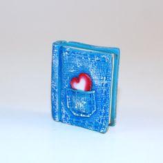 Blue Denim Polymer Clay Book Charm Focal Bead