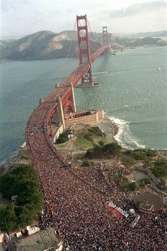 huge crowd celebrating Golden Gate's 50th birthday on May 24,1987