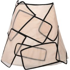 Beige Asymmetric Geo Organza Skirt ($119) ❤ liked on Polyvore featuring skirts, asymmetrical skirt, print skirt, mini skirt, pink a line skirt and organza skirt