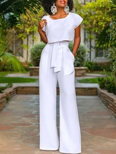 All White 2 Piece Outfit Idea work it ma 2 piece wide leg trouser and cropped blouse set All White 2 Piece Outfit. Here is All White 2 Piece Outfit Idea for you. All White 2 Piece Outfit work it ma 2 piece wide leg trouser and cropped blou. Style Pantry, All White Outfit, White Outfits For Women, Long Jumpsuits, 2 Piece Outfits, Crop Blouse, Wide Leg Trousers, White Fashion, Classy Outfits