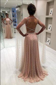 Elegantes rosa schier rückenfreies Sicken A-Linie Abschlussballkleid - Вечірні сукні - Prom dresses Backless Prom Dresses, A Line Prom Dresses, Cheap Prom Dresses, Evening Dresses, Bridesmaid Dresses, Formal Dresses, Wedding Dresses, Blush Prom Dress, Prom Gowns