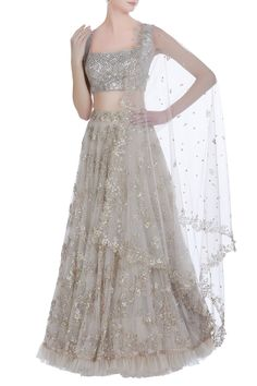 Light grey Anushree Reddy lehenga. Click on image to see price. #Frugal2Fab