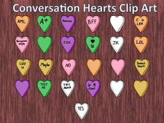 25 images of conversation candy hearts for this Valentines Day season!  Includes: Colored clip art, Blank Colored Clip Art, and a blank for adding your own color and words!  These can be used commercially. Please flatten image so they cannot be pulled off and leave a link back to my store.