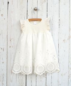 Baby Girl Eyelet Dress Baby Girl Ivory Easter Dress  by TesaBabe