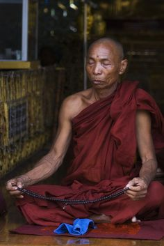 A Burmese Monk In Deep Contemplation Photography by El-Branden Brazil