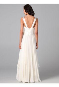 A-line V-neck Chiffon White Long Prom Dresses/Evening Dress With Beading - Thumbnail 1