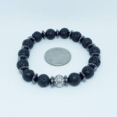 New listing! Lava Stone Hematite Stretch Bracelet  Black Moon 2  Lava