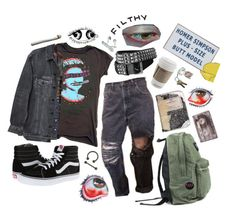 """today i fell in love // the queers"" by trashpunk ❤ liked on Polyvore featuring Y/Project, Vans, Ultimate and CASSETTE"