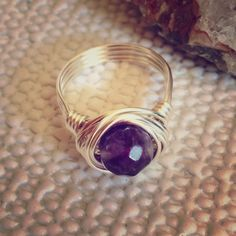 Amethyst Ring  Nice! Faceted Amethyst Gemstone HandWrapped With Sterling Silver Plated Wire! Size 7 or Custom size Available Jewelry Rings