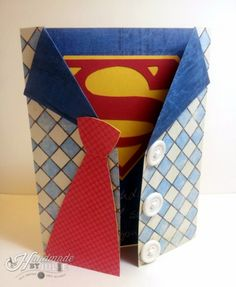 Gotta make this~! Birthday Cards For Him, Bday Cards, Handmade Birthday Cards, Scrapbook Cards, Scrapbooking, Superman Birthday, Male Birthday, Father's Day Diy, Fathers Day Crafts