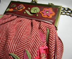 Vintage Oilily Bag  fabric and leather like with by FeliceSereno, $28.00