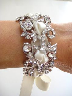 swarovski crystal bracelet with laced ribbon