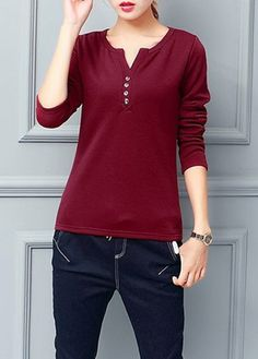 Wine Red Fleece Lined Long Sleeve T Shirt  on sale only US$25.01 now, buy cheap Wine Red Fleece Lined Long Sleeve T Shirt  at lulugal.com
