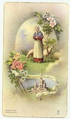 SAINT BERNADETTE SOUBIROUS Lourdes - Antique Italian Holy Card - Abate PERREYVE Saint Bernadette, St Bernadette Of Lourdes, St Bernadette Soubirous, Catholic Saints, Roman Catholic, La Salette, Vintage Holy Cards, Our Lady Of Lourdes, Prayer Cards