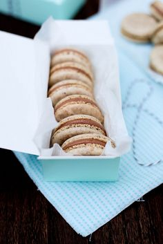 hazelnut macarons w/nutella filling- for when I'm brave enough to attempt making macarons!