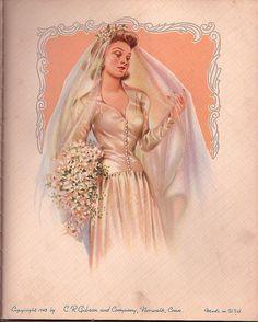 Beautiful Bride From 1943 Wedding Pics, Wedding Bride, Wedding Cards, Wedding Styles, Wedding Gowns, 1940s Wedding, Wedding Bells, Wedding Graphics, Wedding Illustration