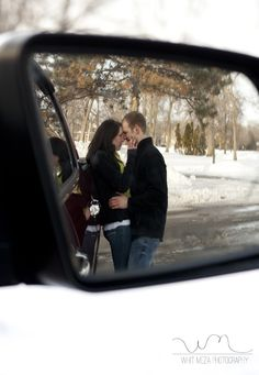 Engagement Session Idea (from the review mirror of his truck) photo idea