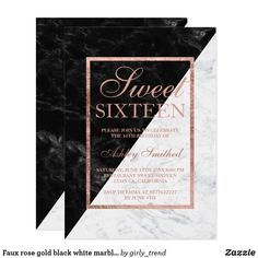 Faux rose gold black white marble block Sweet 16 Card A modern, pretty chic and elegant faux rose gold Sweet 16 birthday party invitation with faux rose gold frame on a modern and elegant black and white marble color block.
