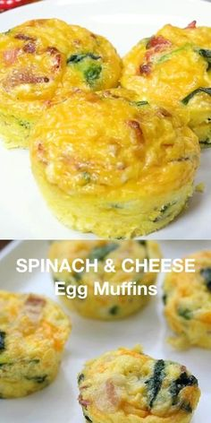 Spinach & Cheese Egg Muffins - A mini frittata made with bacon, onions, cheese and spinach. Always a breakfast fave! A mini frittata made with bacon, onions, cheese and spinach. Always a breakfast fave! Spinach And Eggs Breakfast, Spinach Muffins, Spinach And Cheese, Breakfast Dishes, Breakfast Recipes, Bacon Egg Muffins, Breakfast Muffins Healthy Egg, Egg Cupcakes Breakfast, Omlet Muffins