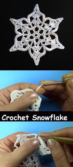 Ideas for crochet christmas snowflakes yarns Crochet Snowflake Pattern, Crochet Snowflakes, Christmas Snowflakes, Crochet Motif, Crochet Patterns, Crochet Winter, Holiday Crochet, Crochet Gifts, Crochet Christmas Decorations