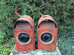 Antique paraffin traffic lanterns from Chesterfield, UK.