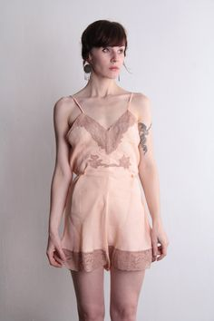 {flapper underwear! one piece in peach with lace accents; circa 1920s}