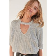 Silence + Noise Maddie Cutout Cropped Sweater ($49) ❤ liked on Polyvore featuring tops, sweaters, short sleeve crew neck sweater, plunge top, short sleeve sweater, short sleeve cropped sweater and crew-neck sweaters